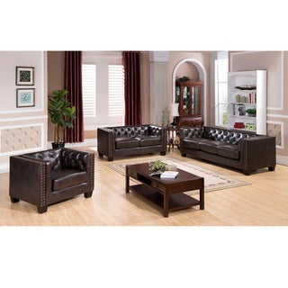 Brixton Tufted Brown Top Grain Leather Sofa Loveseat and Chair