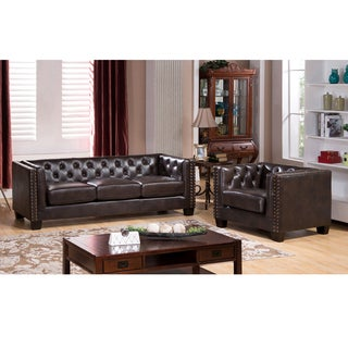Brixton Tufted Brown Top Grain Leather Sofa and Chair