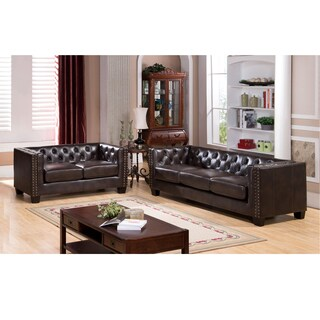 Brixton Tufted Brown Top Grain Leather Sofa and Loveseat