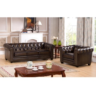 Brunswick Hand Rubbed Tufted Brown Top Grain Leather Sofa and Chair