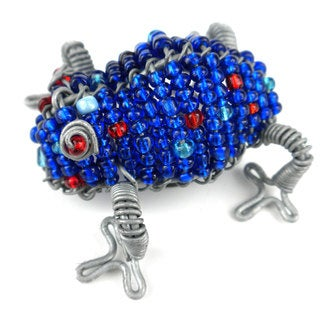 Handmade Beaded Dark Blue Frog Fridge Magnet (South Africa)