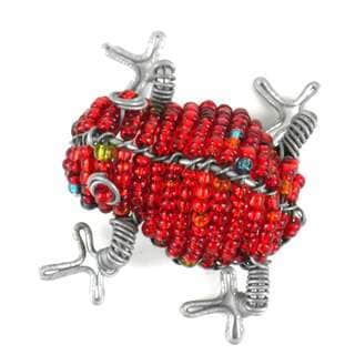 Handmade Beaded Red Frog Fridge Magnet (South Africa)
