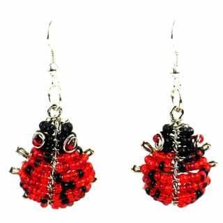 Handmade Beaded Ladybug Earrings (South Africa)
