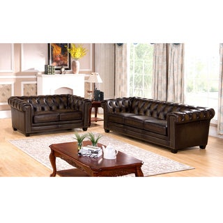 Brunswick Hand Rubbed Tufted Brown Top Grain Leather Sofa and Loveseat