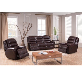Cali Brown Top Grain Leather Reclining Sofa and Two Recliner Chairs