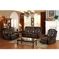 Bedford Wingback Tufted Brown Top Grain Leather Reclining Sofa Loveseat and Recliner