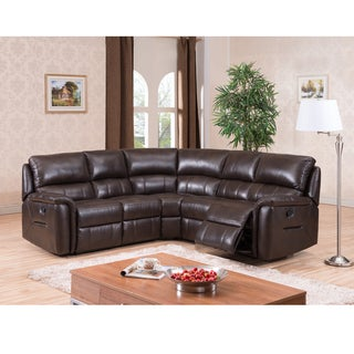Ranger Brown Top Grain Leather Reclining Sectional Sofa