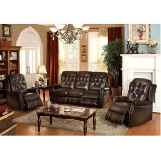 Bedford Wingback Tufted Brown Top Grain Leather Reclining Sofa and Two Recliners