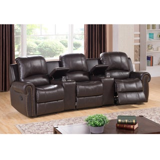 Walden Three Seat Brown Top Grain Leather Recliner Home Theater Seating Set