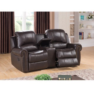 Walden Two Seat Brown Top Grain Leather Recliner Home Theater Seating Set