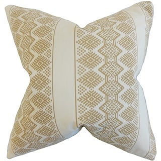 Reilly Geometric Taupe Down and Feather Filled 18-inch Throw Pillow