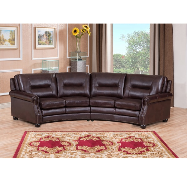 Penn Chocolate Brown Curved Top Grain Leather Sectional ...