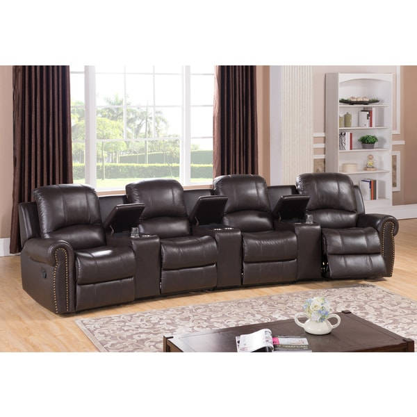 Walden Four Seat Brown Top Grain Leather Recliner Home