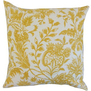 Bionda Floral Yellow Down and Feather Filled 18-inch Throw Pillow