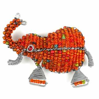 Handmade Beaded Orange Elephant Fridge Magnet (South Africa)