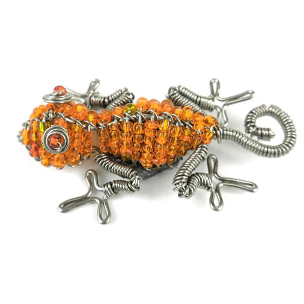 Handmade Beaded Orange Gecko Fridge Magnet (South Africa)