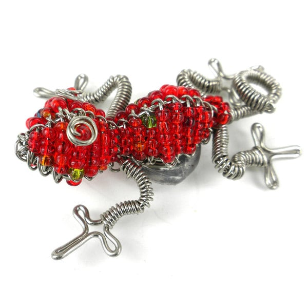 Handmade Beaded Red Gecko Fridge Magnet (South Africa)