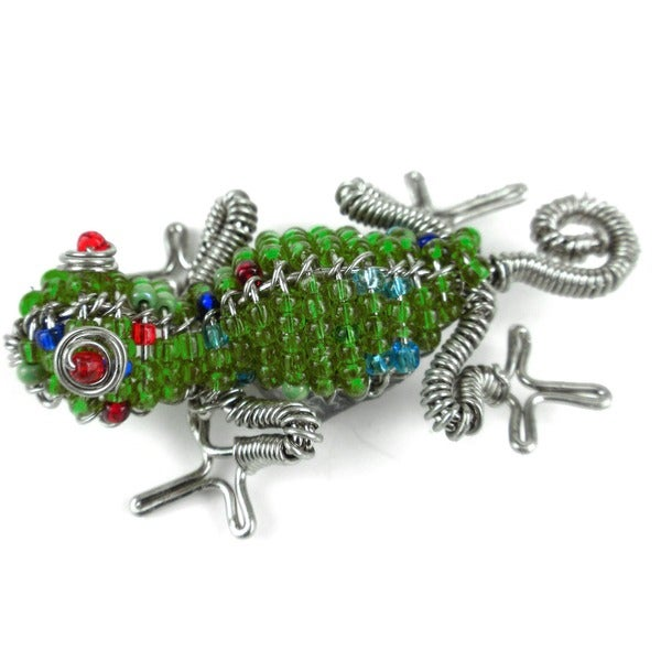 Handmade Beaded Lime Gecko Fridge Magnet (South Africa)