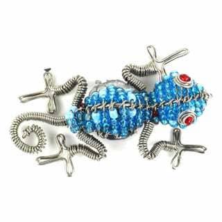 Handmade Beaded Light Blue Gecko Fridge Magnet (South Africa)