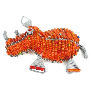 Handmade Beaded Orange Rhinoceros Fridge Magnet (South Africa)