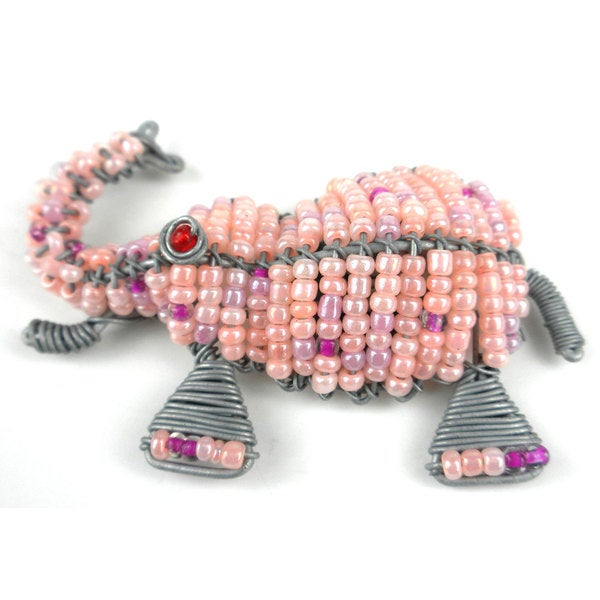 Handmade Beaded Pink Elephant Fridge Magnet (South Africa)