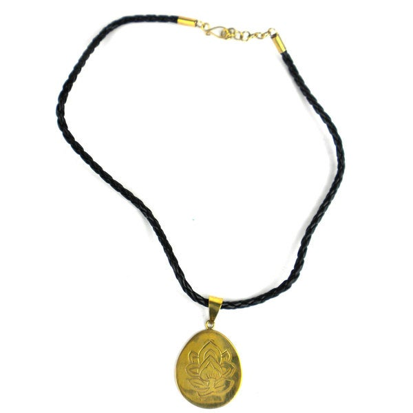 Bomb Shell Etched Lotus Pendant on Cord (Cambodia)