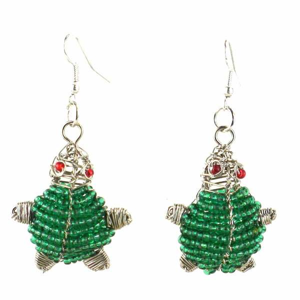 Handmade Beaded Green Turtle Earrings (South Africa)