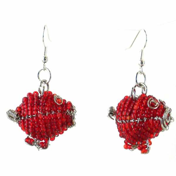 Handmade Beaded Red Pig Earrings (South Africa)