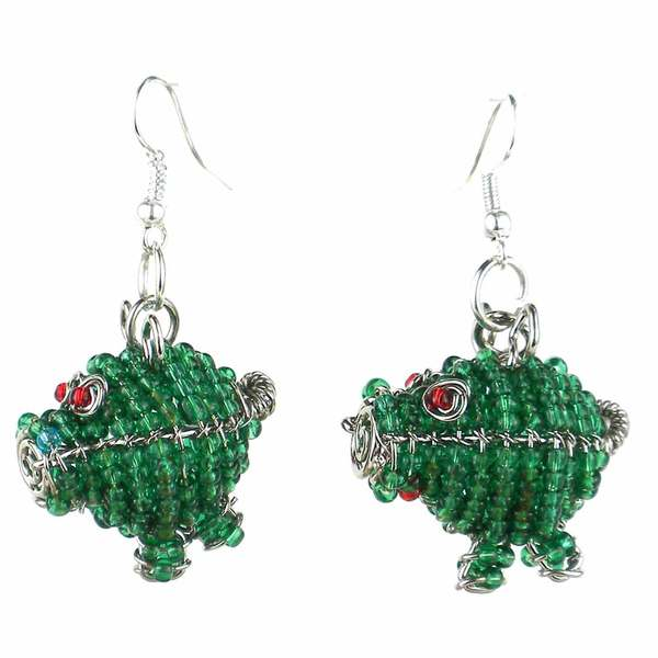 Handmade Beaded Green Pig Earrings (South Africa)