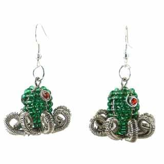 Handmade Beaded Green Octopus Earrings (South Africa)