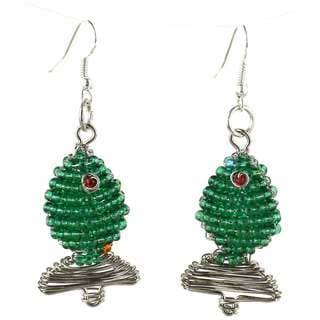 Handmade Beaded Green Fish Earrings (South Africa)