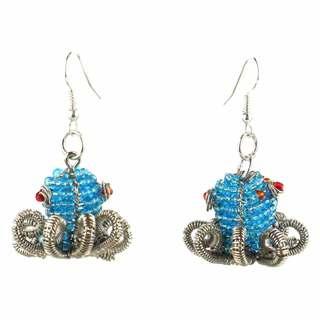 Handmade Beaded Light Blue Octopus Earrings (South Africa)