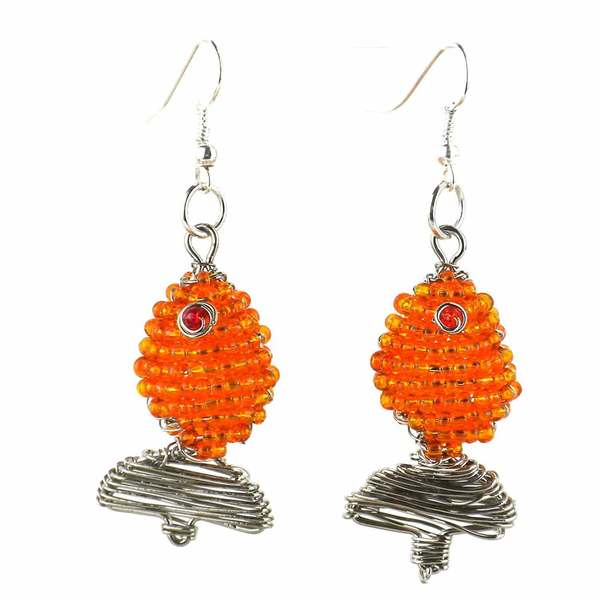 Handmade Beaded Gold Fish Earrings (South Africa)