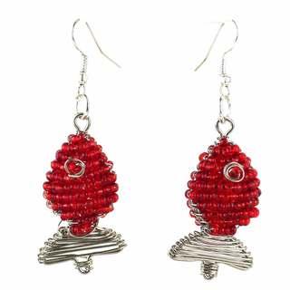 Handmade Beaded Red Fish Earrings (South Africa)