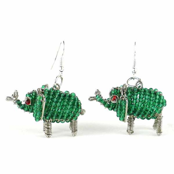 Handmade Beaded Green Elephant Earrings (South Africa)