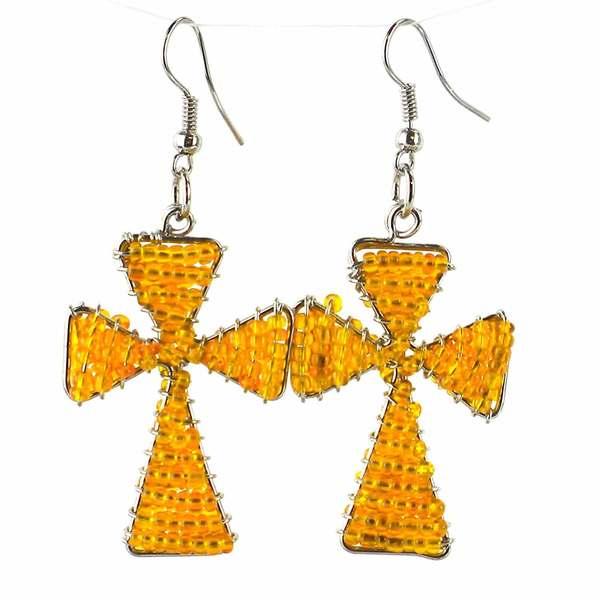 Handmade Beaded Gold Cross Earrings (South Africa)