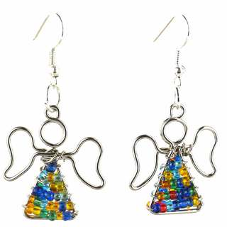 Handmade Beaded Multicolor Angel Earrings (South Africa)