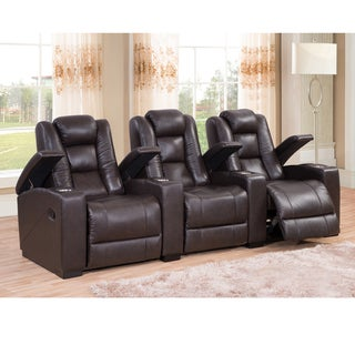Weston Three Seat Brown Top Grain Leather Recliner Home Theater Seating Set