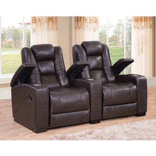 Weston Two Seat Brown Top Grain Leather Recliner Home Theater Seating Set