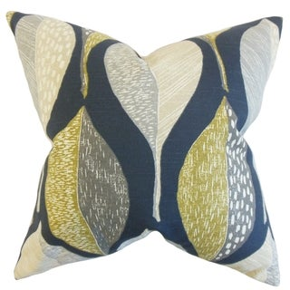 Valter Geometric Indigo Down and Feather Filled 18-inch Throw Pillow