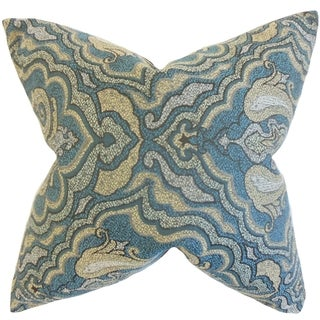 Wystan Damask Blue Down and Feather Filled Throw Pillow