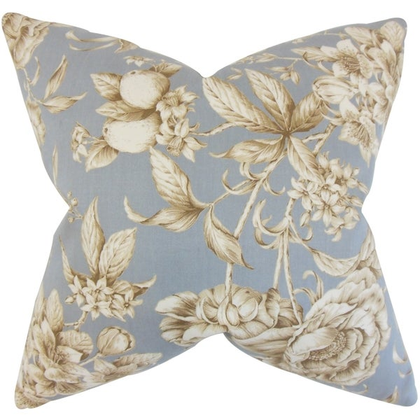Clare Floral grey Down and Feather Filled Throw Pillow