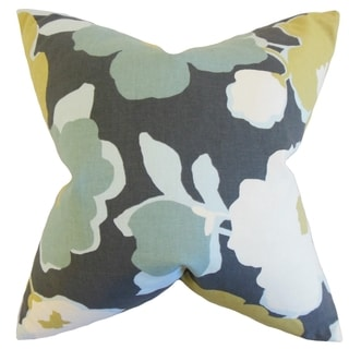Saar Floral Charcoal Down and Feather Filled Throw Pillow
