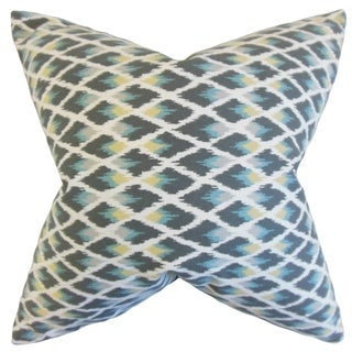 Paxton Ikat Rain Down and Feather Filled 18-inch Throw Pillow