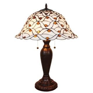 Tiffany-style Jeweled White Table Lamp