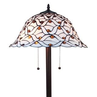Tiffany-style Jeweled Design Glass Pearl Floor Lamp