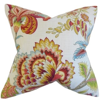 Oberon Floral 18-inch Feather Filled Coral 18-inch Throw Pillow