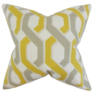 Chauncey Geometric 18-inch Feather Filled Yellow 18-inch Throw Pillow