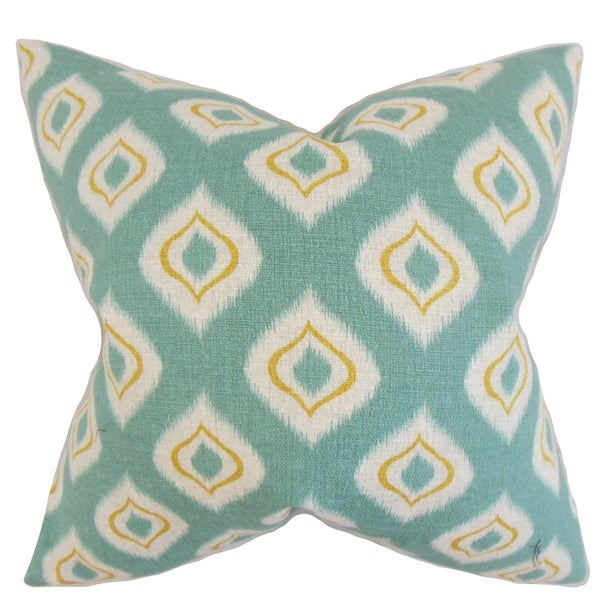 Dai Ikat Feather Filled Aqua Throw Pillow