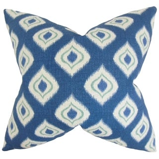 Dai Ikat 18-inch Feather Filled Blue 18-inch Throw Pillow
